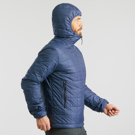 Veste rembourrée randonnée montagne RANDO 100 capuchon homme bleu