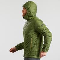 Doudoune de rando en montagne | TREK 100 avec capuche vert - Homme