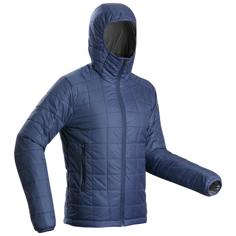 Men's Hooded Mountain Trekking Padded Jacket TREK 100 - Blue