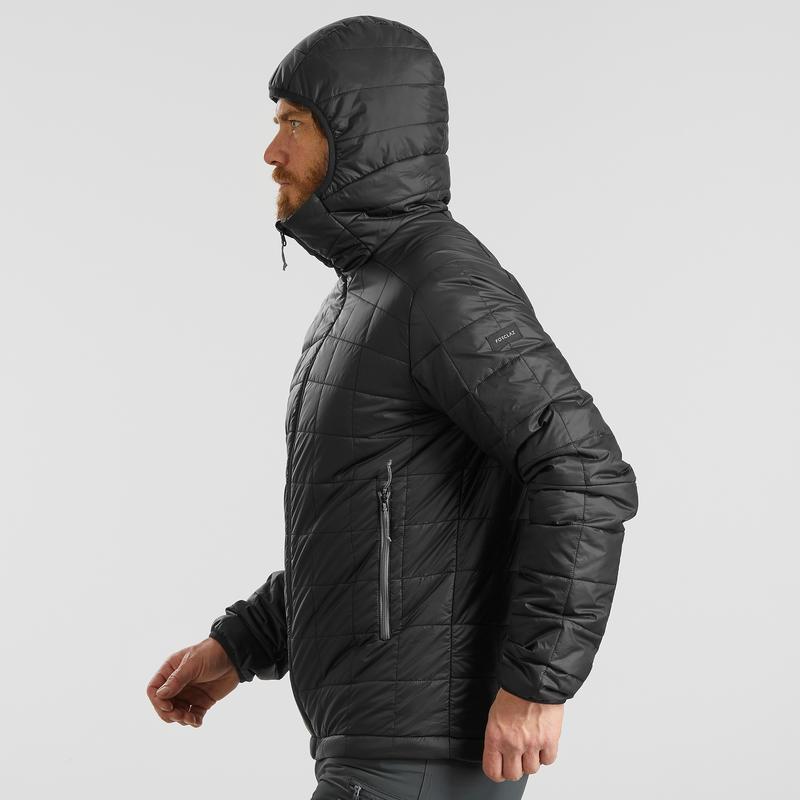 Men's Mountain trekking padded jacket TREK 100 with Hood - Black