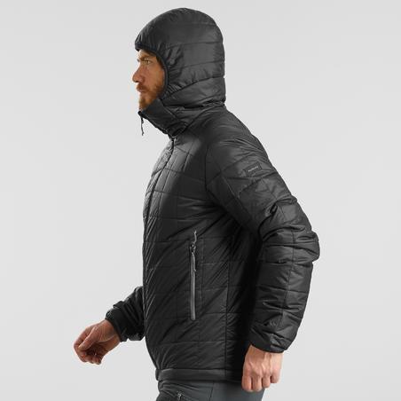 Men's Hooded Mountain Trekking Padded Jacket TREK100 - Black