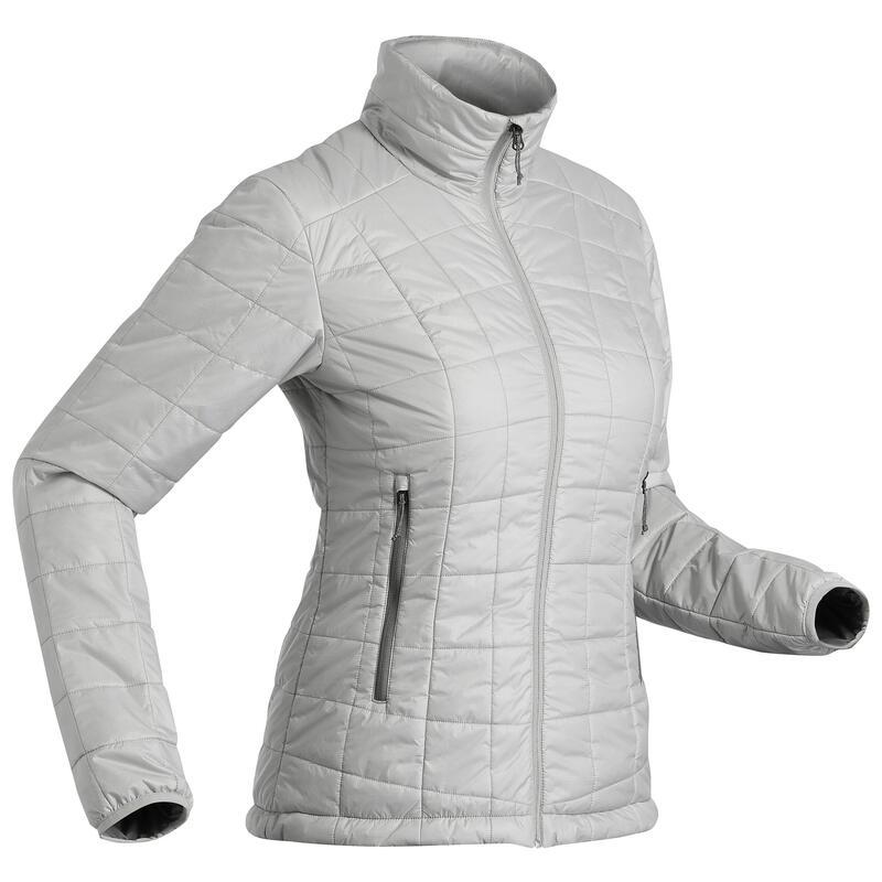 Women's Synthetic Mountain Trekking Padded Jacket - MT 100 -5°C - Grey