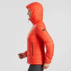 Chaqueta acolchada trekking en montaña TREK 100 capucha mujer rojo
