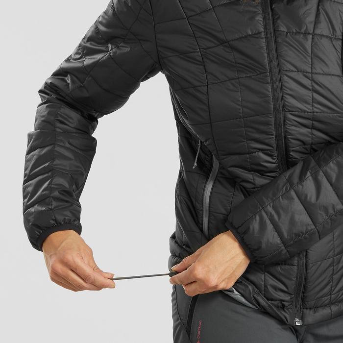 Gewatteerde jas voor bergtrekking dames Trek 100 zwart