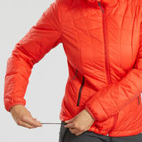 Women's Hooded Mountain Trekking Down Jacket TREK 100 - Red