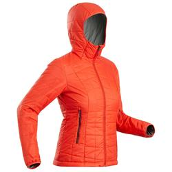 Abrigo Chaqueta acolchada Montaña y Trekking Forclaz TREK100 capucha mujer rojo