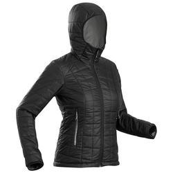 女款登山健行化纖填充兜帽外套TREK 100-黑色