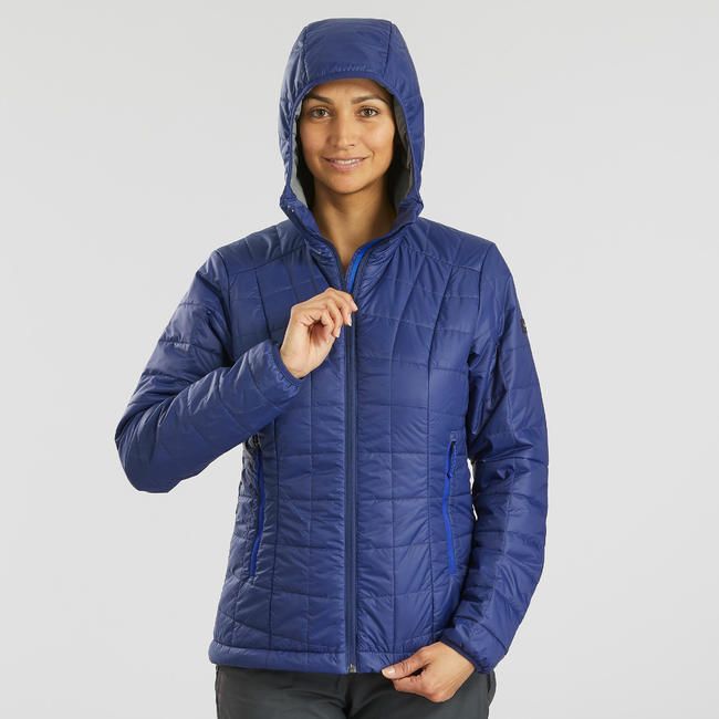 Women's Hooded Mountain Trekking Down Jacket TREK100 - Blue