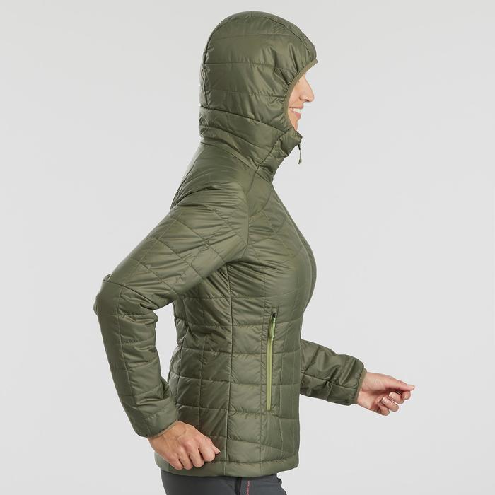 Doudoune trekking montagne TREK 100 capuche femme vert