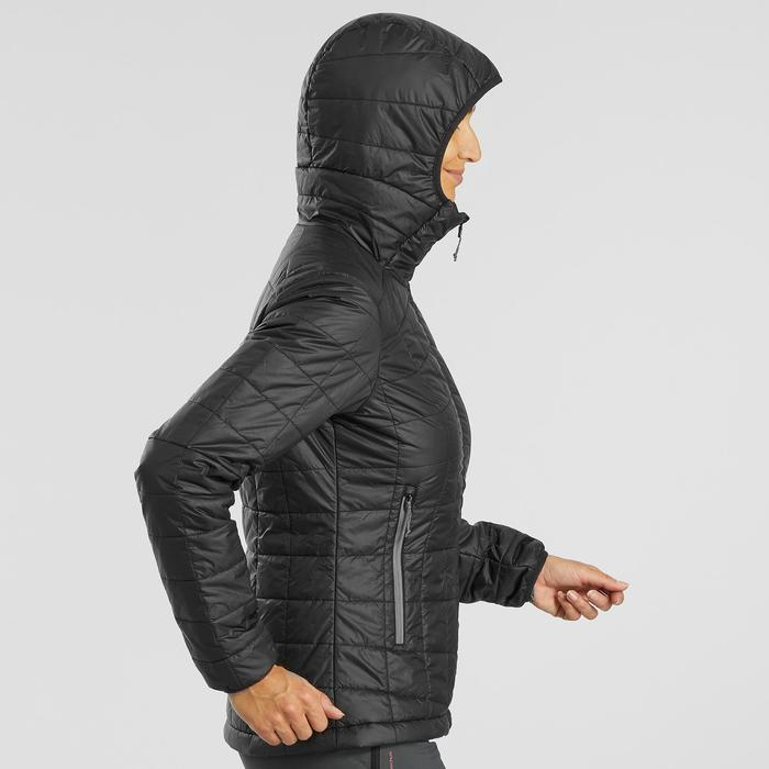 Wattierte Jacke Trek 100 Kapuze Damen schwarz