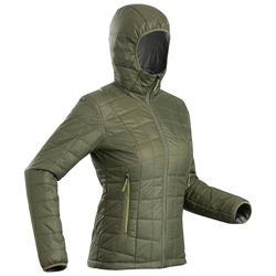Gewatteerde jas met capuchon voor bergtrekking dames Trek 100 groen