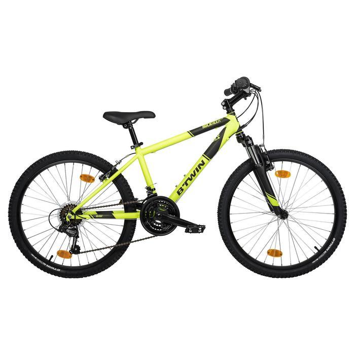 Mountainbike Kinder 24 Zoll Rockrider 500 neongelb/schwarz