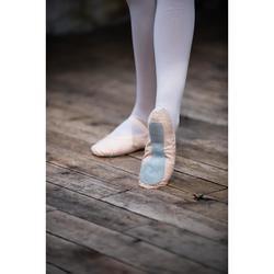 Ballettschuhe Halbspitze durchgehende Sohle Stretch-Leinen beige