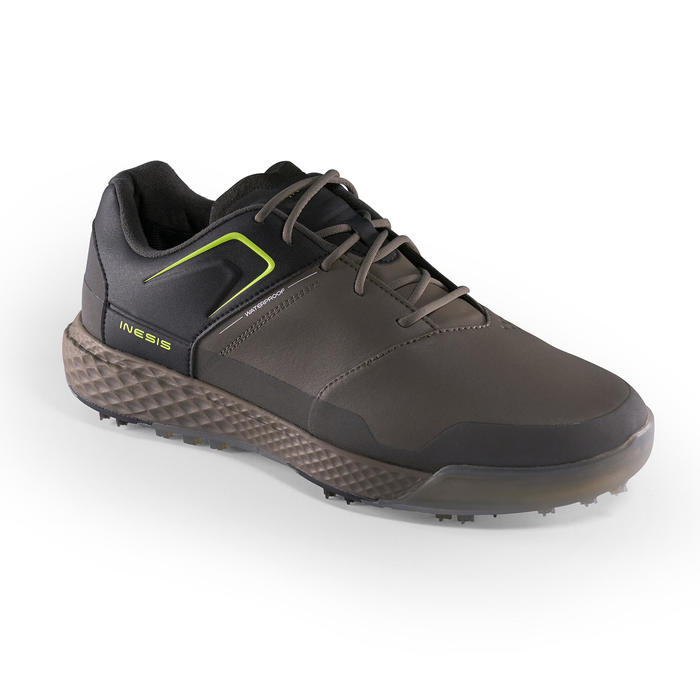 Golfschoenen heren Grip Waterproof kaki