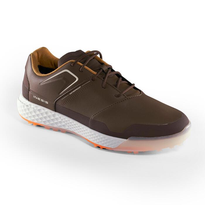 Golfschoenen heren Grip Waterproof bruin