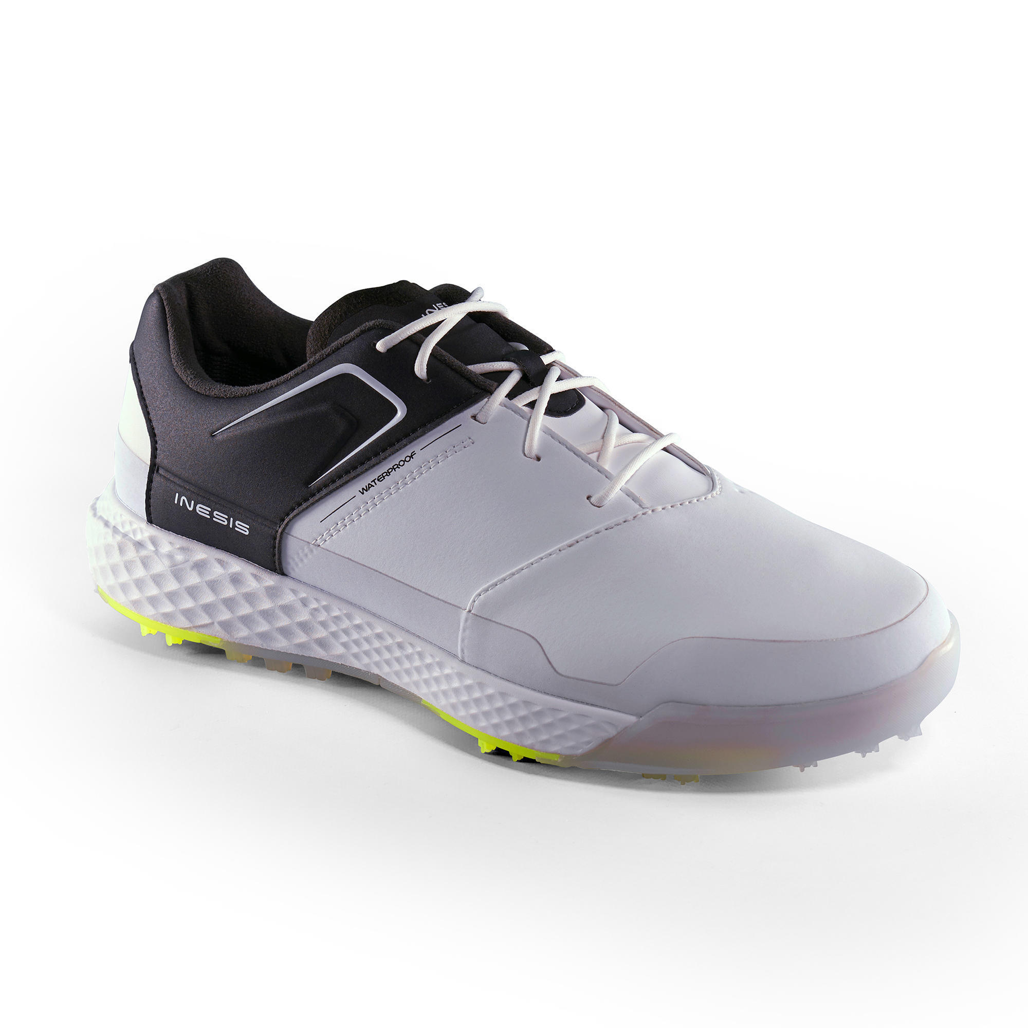 CHAUSSURES GOLF HOMME GRIP WATERPROOF BLANCHES ET NOIRES - Inesis