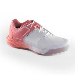 女款防水高爾夫球鞋-白色/粉紅色