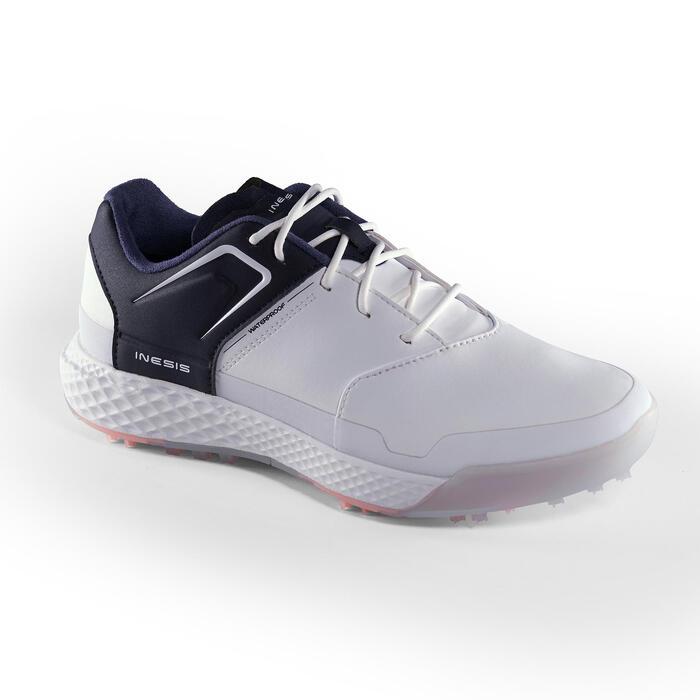 Golfschoenen dames Grip Waterproof wit en marineblauw