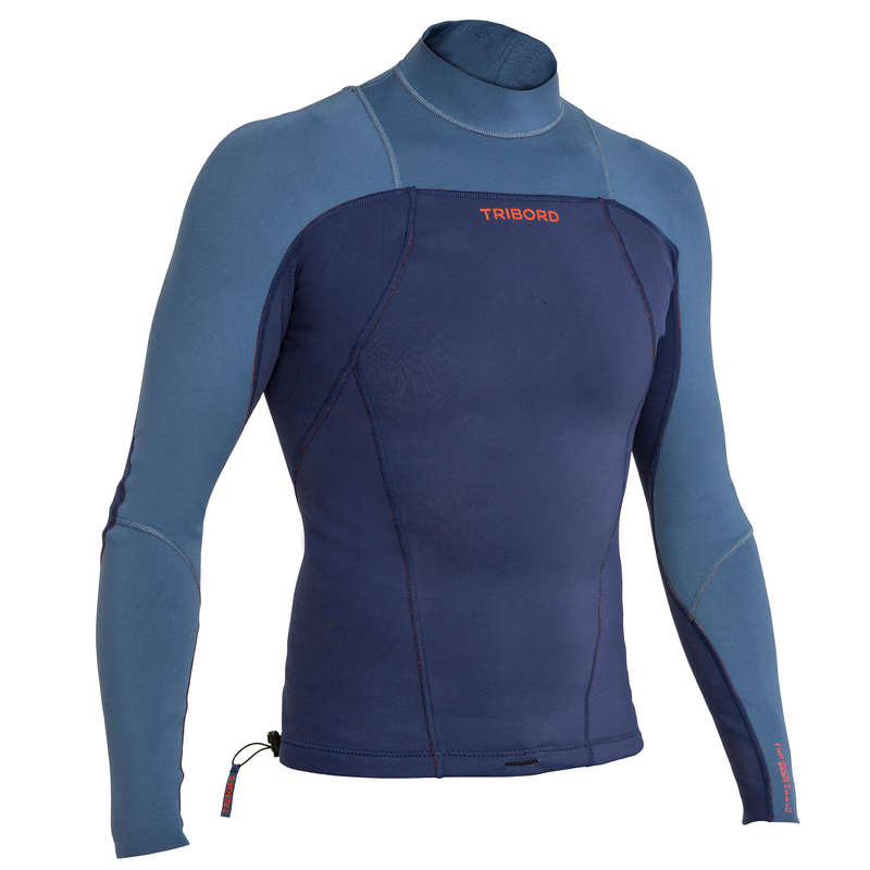 WARM WATER SPRINGSUIT - 900 Men's LS Neoprene Top Blue OLAIAN