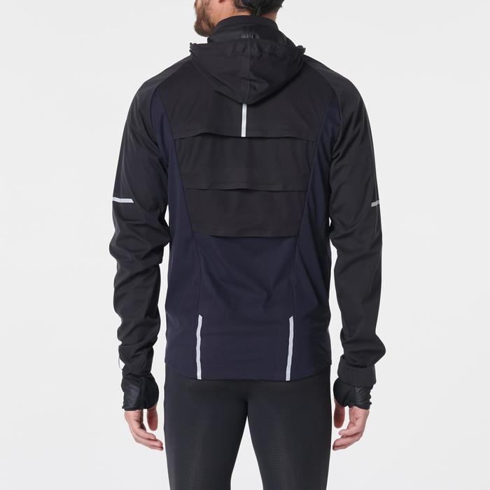 男款防潑水防風冬季跑步外套Kiprun Warm Regul - 藍色黑色