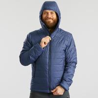 Chamarra acolch guata trekking montaña confort -5°C TREK 100 capucha azul hombre