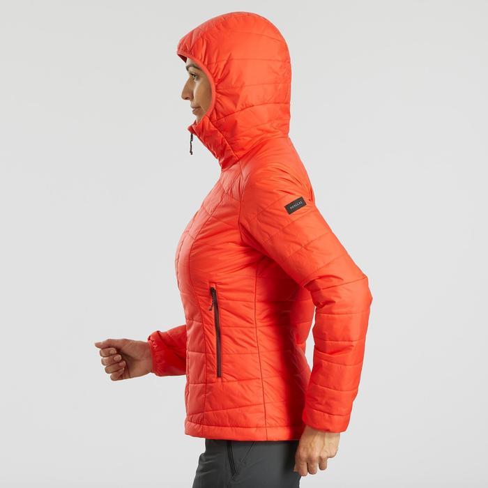 Doudoune de trek en montagne - TREK 100 capuche corail - femme