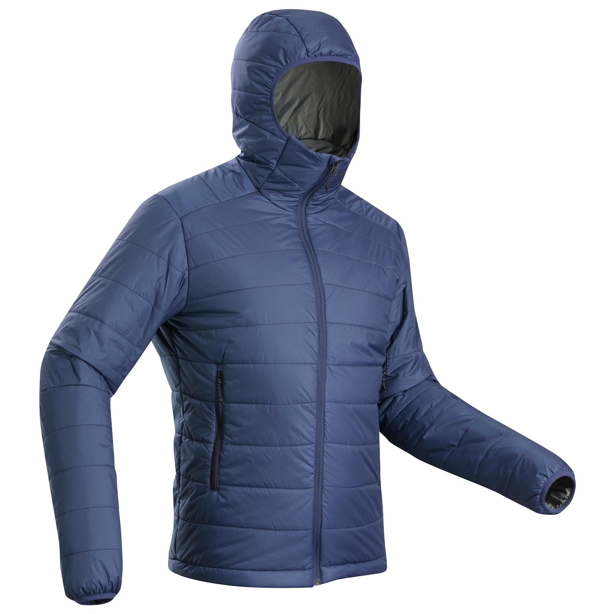 Doudoune de trek montagne trek 100 capuche bleu homme forclaz