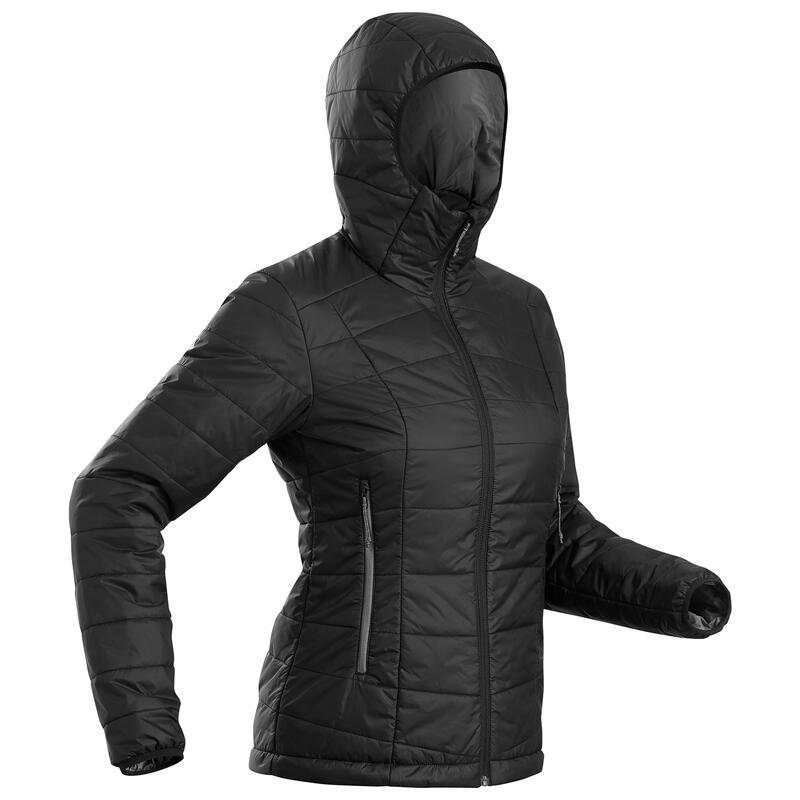 Women's Synthetic Mountain Trekking Padded Jacket - MT 100 Hooded -5°C - Black