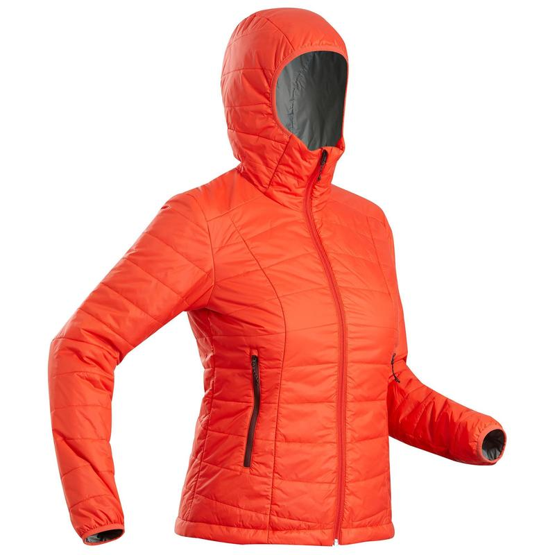 Women's Synthetic Mountain Trekking Padded Jacket - MT 100 Hooded -5°C - Coral