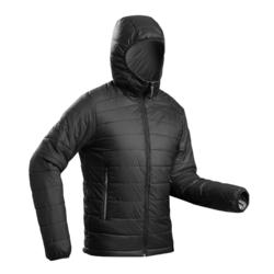 Abrigo Chaqueta Acolchada Montaña Trekking Forclaz TREK100 Capucha Hombre Negro