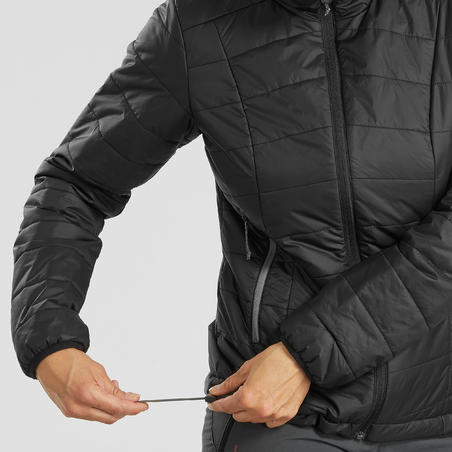 Пуховик для треккинга в горах с капюшоном женский TREK 100 черный