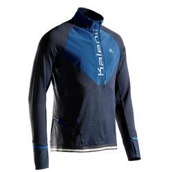 Hardloopshirt met lange mouwen en rits voor heren Kiprun Warm regular blauw