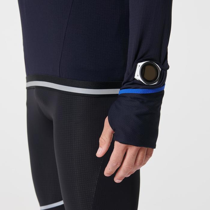 Laufshirt langarm Kiprun Warm Regul Zip Herren blau