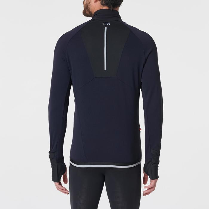 Hardloopshirt met lange mouwen voor heren Kiprun Warm regular zwart/blauw/rood