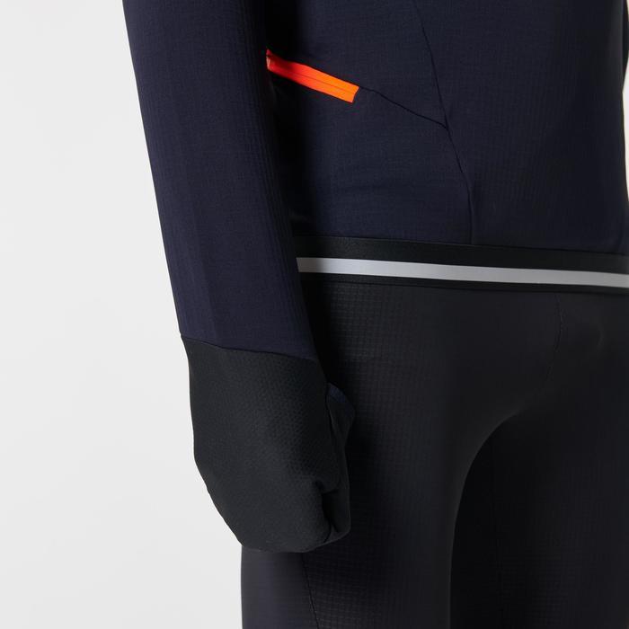 Laufshirt Langarm Kiprun Warm Regul Zip Herren schwarz/blau/rot