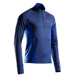TEE SHIRT RUNNING MANCHE LONGUE HOMME KIPRUN WARM LIGHT BLEU