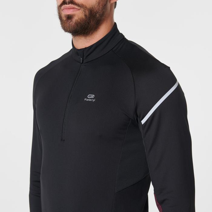 Hardloopshirt met lange mouwen voor heren Kiprun Warm Light zwart/rood