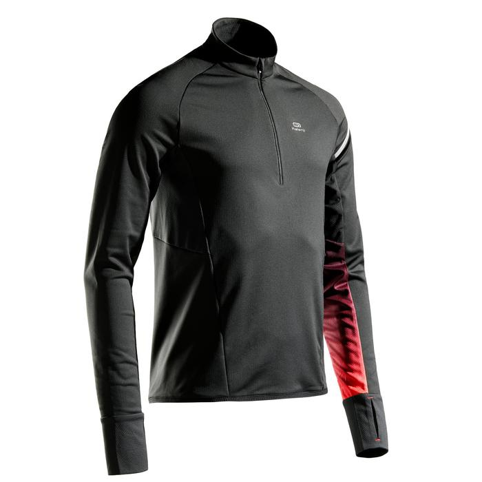 CAMISETA DE RUNNING MANGA LARGA HOMBRE KIPRUN WARM LIGHT NEGRO ROJO