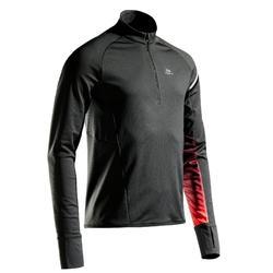 男款跑步運動長袖T恤KIPRUN WARM LIGHT - 黑色/紅色