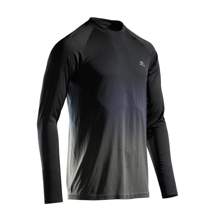 Hardloopshirt met lange mouwen voor heren Kiprun Care zwart/grijs