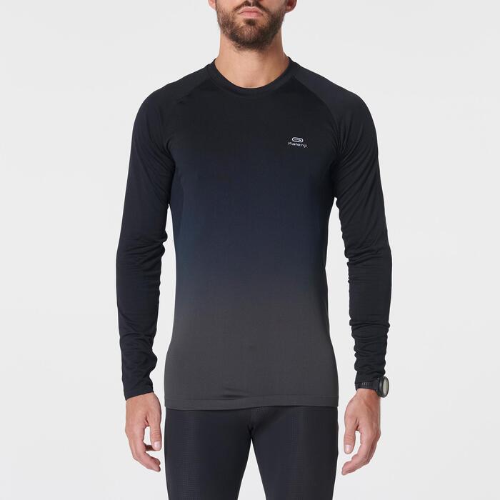 Camiseta Manga Larga Running Kalenji Kiprun Care Hombre Negro/Gris
