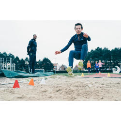 Sporthose warm Kinder grau/neonorange