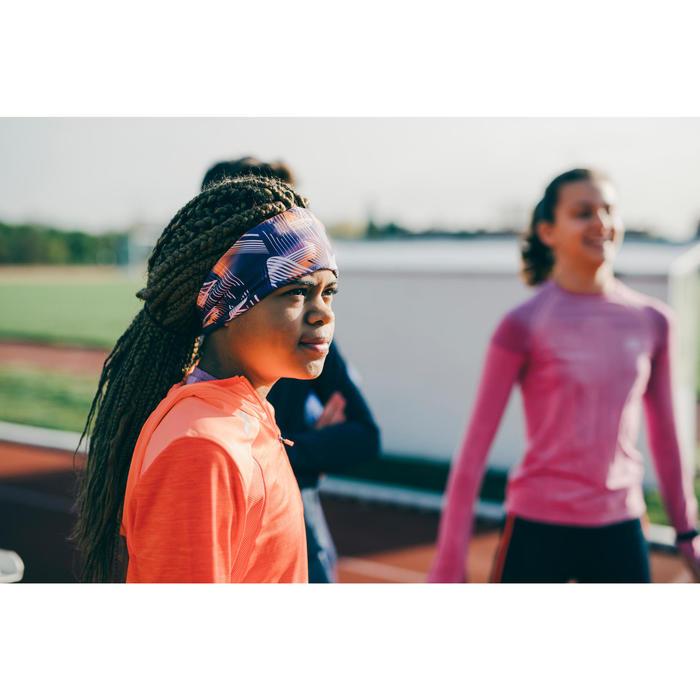 Wende-Stirnband Leichtathletik Kinder violett/neonorange mit Print