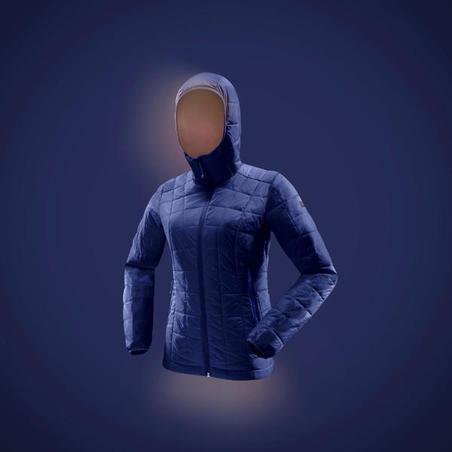 Women's Mountain Trekking Hooded Down Jacket TREK 100 - Blue