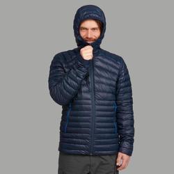男款登山健行羽絨外套-舒適溫度為-5°C-TREK 100-軍藍色
