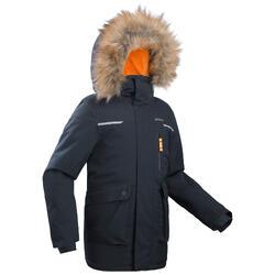 Children's warm waterproof hiking jacket SH500 U-Warm - Boys age 7-15- Grey.