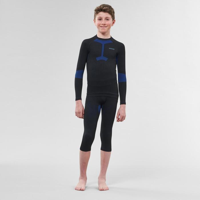 Skiunterhemd Funktionsshirt 900 I-Soft Kinder schwarz/blau