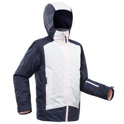 兒童滑雪外套500 - 白色與藍色