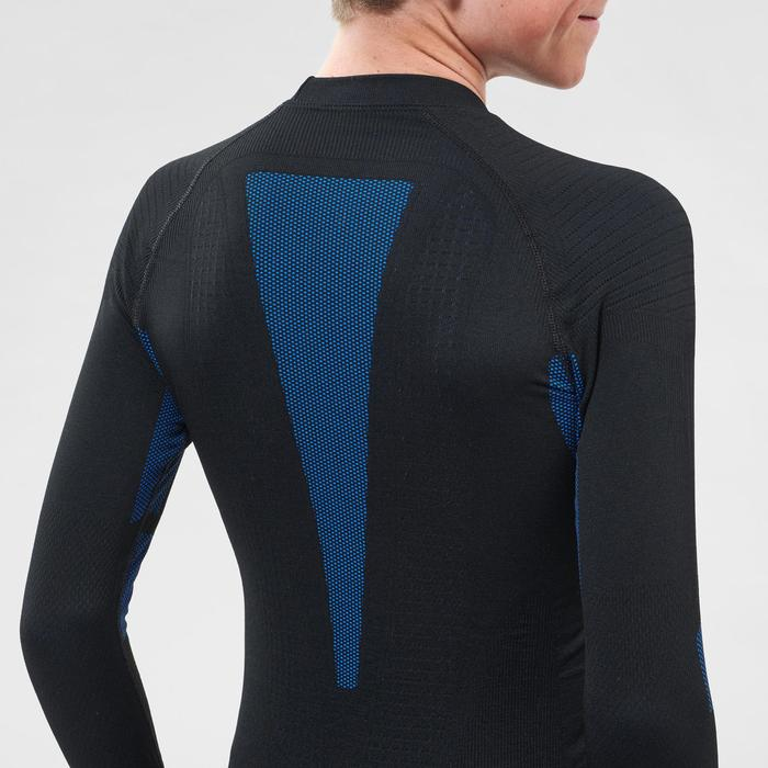 Thermoshirt voor skiën voor kinderen 900 I-Soft zwart en blauw