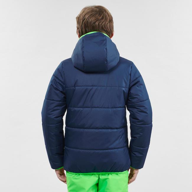 KIDS' SKI JACKET WARM REVERSE 100 - BLUE AND GREEN